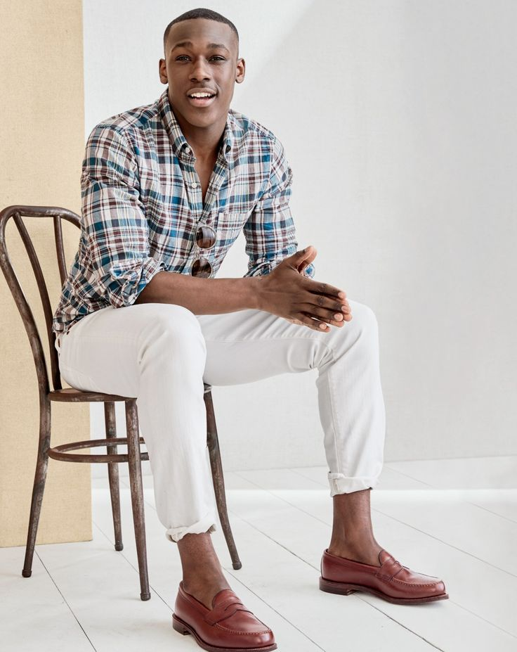 J.Crew men's slim madras shirt in faded plaid, 484 stretch jean in white, Frankie sunglasses and Alden® for J.Crew penny loafer.