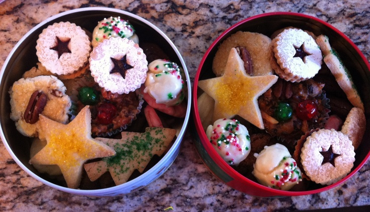 Christmas cookies all boxed up