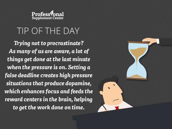 Health Tip of the Day - Avoid procrastination by setting deadlines!