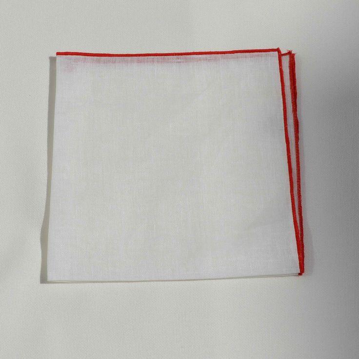 Pañuelo Lino Contraste Rojo