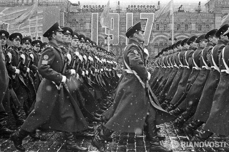 Soviet Army cadets on a military parade.