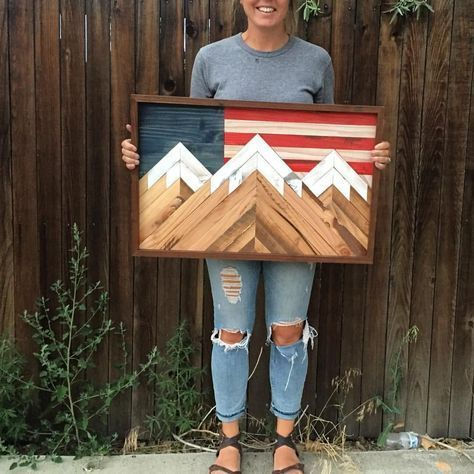 Rustic flag and mountain wall hanging By Alpine Garage (@the_alpine_garage) on Instagram: