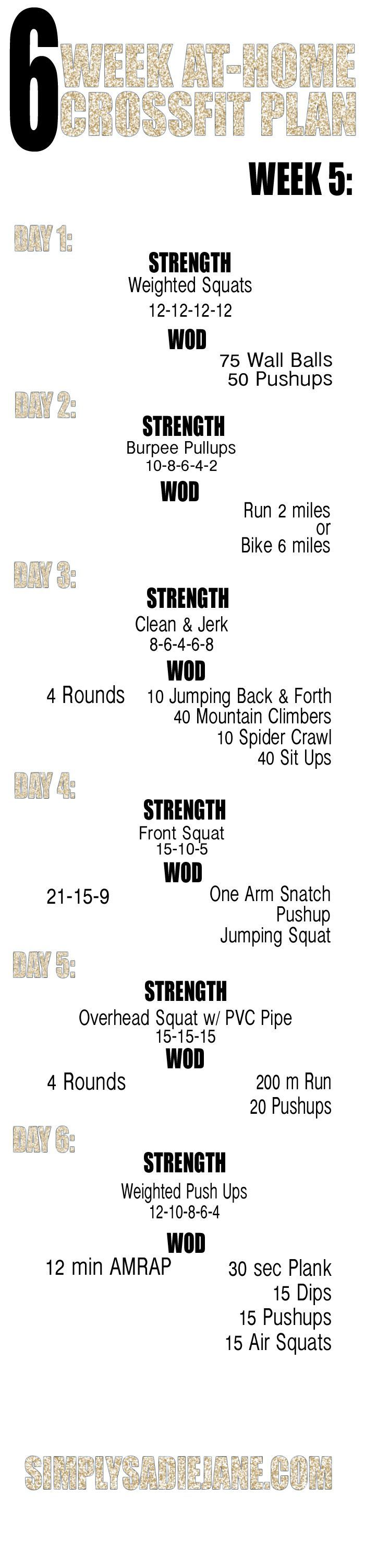 Week 5 -  6 Week Crossfit Workout Plan