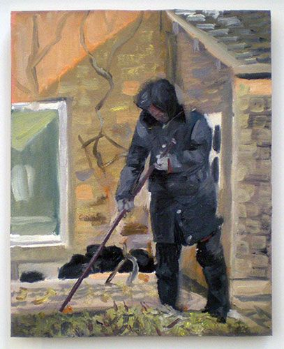 Steve Lopes painting study, Bei Gao, Beijing: 'Woman Sweeping', 2011 - 2012, oil on canvas on board, 30 x 35 cm