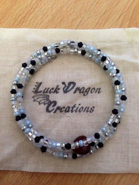 Black and White Memory Wire Bracelet with by LuckDragonCreations