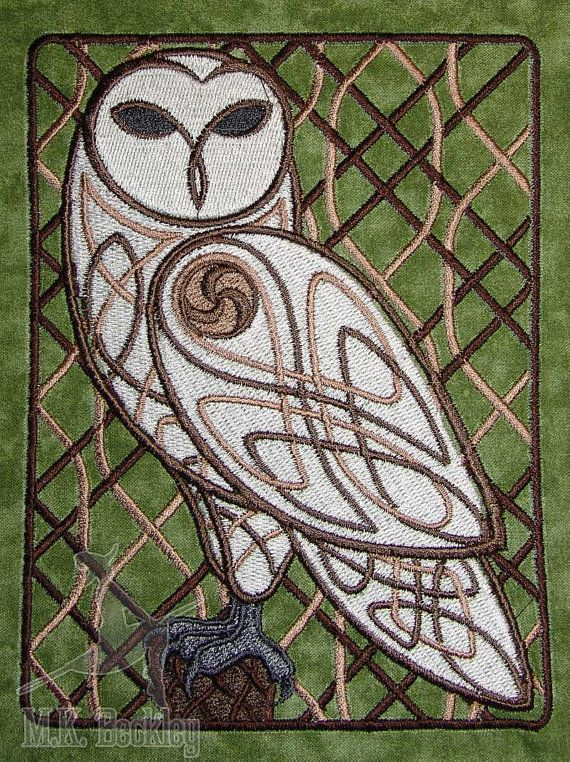 Woodland Celtic Owl Embroideried Quilt Block by mkbeckley on Etsy, $19.49