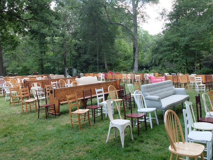 Seating For A June Wedding At The Ivy Place Love The Different Chairs, Pews  And