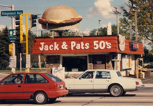 Jack & Pat's 50's Drive In. (Gone-Demolished)  Chicago Ridge Illinois.  October 1989. I must have walked to this place a thousand times.
