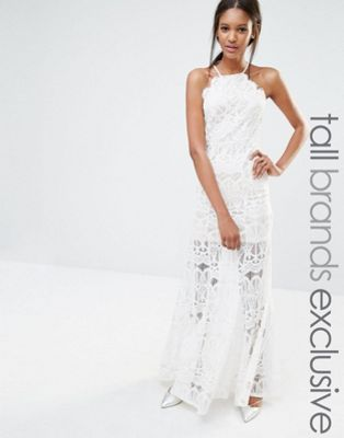 Missguided Tall Exclusive High Neck Scallop Lace Maxi Dress White