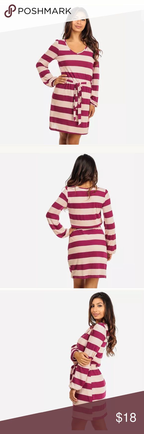 """Womens Juniors Striped Long Sleeve Knit Dress Featuring a V-neckline, long sleeves with elastic cuffs, tie-waist belt and belt loops. Fully lined. Stretchy material made from: self - 47% rayon, 48% polyester and 5% spandex; lining - 100% polyester. Length from underarm down is approx 27"""" (measured from a size M). Made in USA. Our clothes are junior sizes similar to junior clothing stores like Forever 21, Wet Seal, and Charlotte Russe. If you would like  exact measurements for a particular…"""