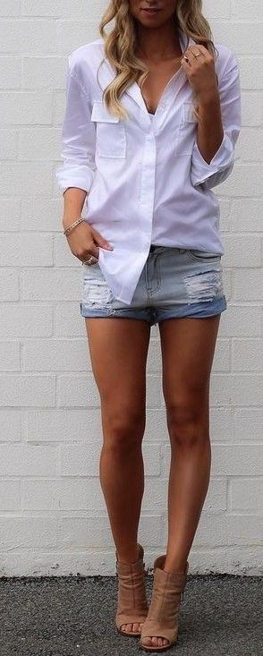 #summer #fblogger #outfits | Classic Shirt + Denim Shorts