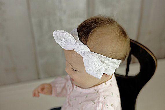White Lace Knot head wrap headband, bow headwrap, turban boho, baby girls #headb…   – Head Wraps