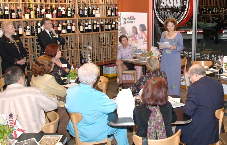 Alice Cotman, Sarasota Sister Cities director for relations with our twinned partner of Tel Mond, Israel, gives a report at the January 2006 Sarasota Sister Cities New Members orientation at Southgate Gourmet in Sarasota