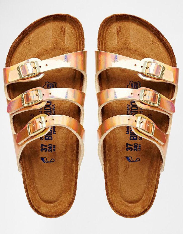 {Birkenstock Florida Triple Strap Copper Slider Flat Sandals}