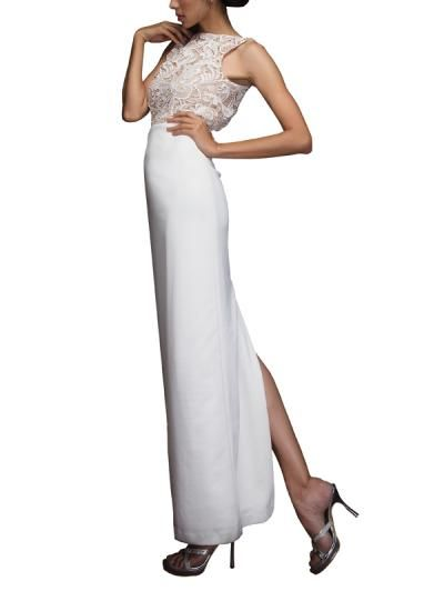 Indian Fashion Designers - Siddhartha Tytler - Contemporary Indian Designer Clothes - Gowns - Off-White Neoprene Gown