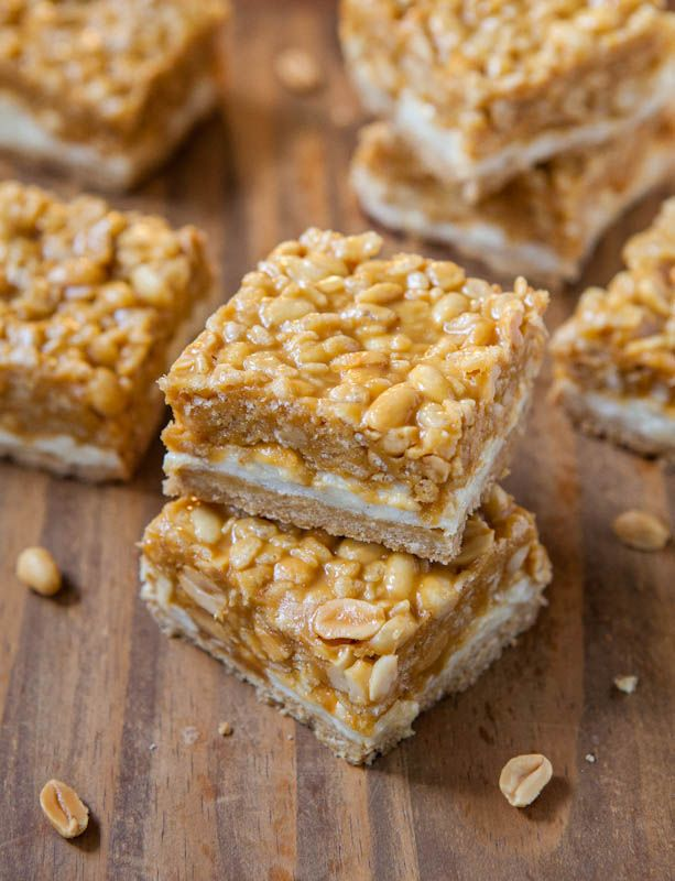 Peanut Chewy Payday Bars. An enhanced Payday candy bar with 3 layers - gooey marshmallows, peanut butter & loads of peanuts (vegan, GF): Payday Candy, Peanut Chewy, Payday Bar, Candy Bar, Avery Cooking, Chewy Payday, Bar Recipes, Rice Krispie, Cereal Bar