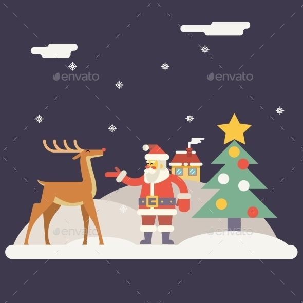 Winter Santa Claus and Rudolph Deer Characters