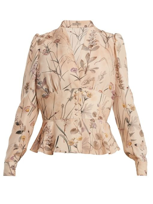 GABRIELLE'S AMAZING FANTASY CLOSET | Bottega Veneta's Feminine Blouse in Nude Silk with a delicate Mauve Floral Print. It has Long Sleeves, V-Neckline, a Structured Buttoned Waist Panel and a Flouncy Peplum. The coordinating Skirt has an elegant A-Line Silhouette with a Hem that just covers the Knee. You can see the Whole Outfit and my Remarks on this board. - Gabrielle