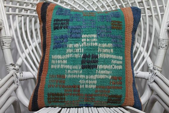 kelimkissen 16x16 rustic furniture southwest decor blue ethnic