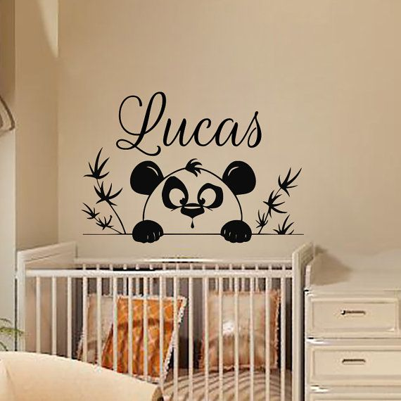 Wall decals personalized name decal vinyl sticker tree branch panda boy baby children nursery bedroom playroom decor window art murals