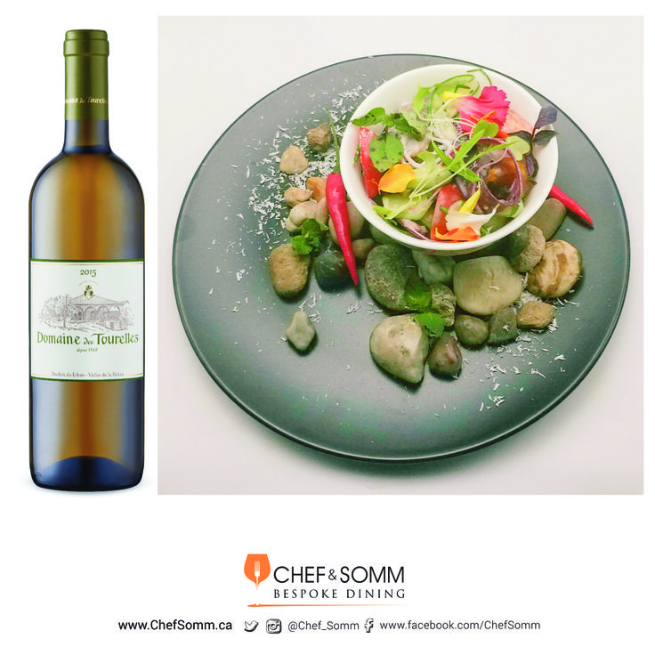 Poisson Cru of Lightly Cured Tuna served with Coconut Milk, Cucumber, and Tomatoes, paired with Dom des Tourelles Blanc, Bekaa Valley, Lebanon 2015 More on this pairing on our IG and FB Pages