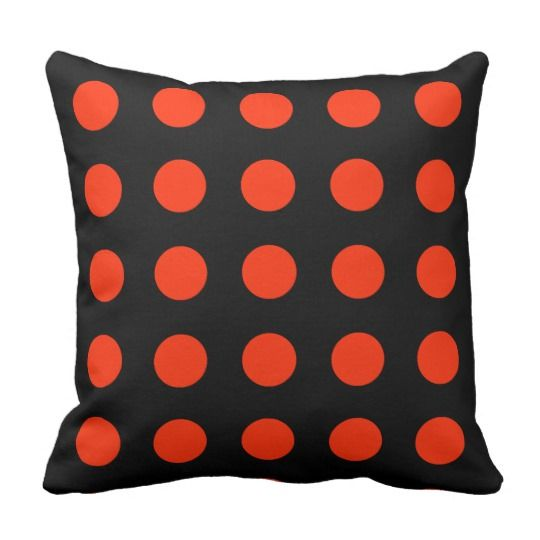 Red dots with black backgroud - geometric design throw pillow