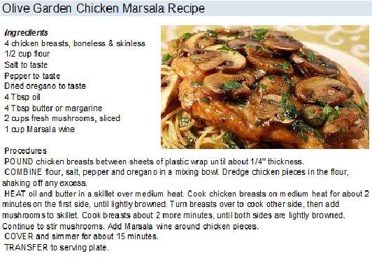 Olive Garden Chicken Marsala Recipe Chicken Recipes Pinterest Chicken Marsala Recipes