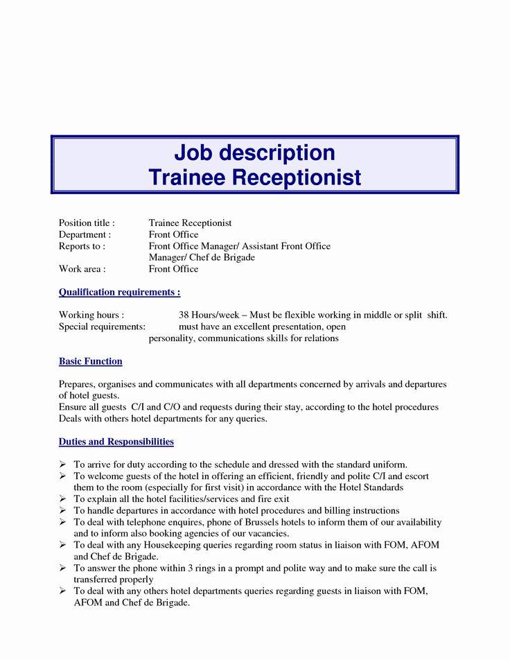 Front Desk Job Description Resume Unique 10 Example Resume