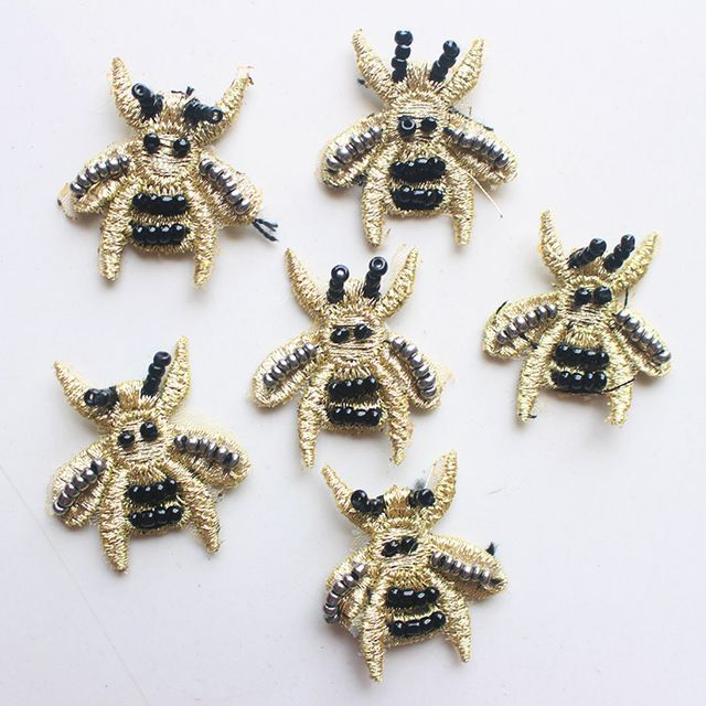 10 шт. золотой небольшие пчелы бисера перл сумка/hat/платье/обувь украшения аксессуары вышивка бисером аппликация патчи для одежды