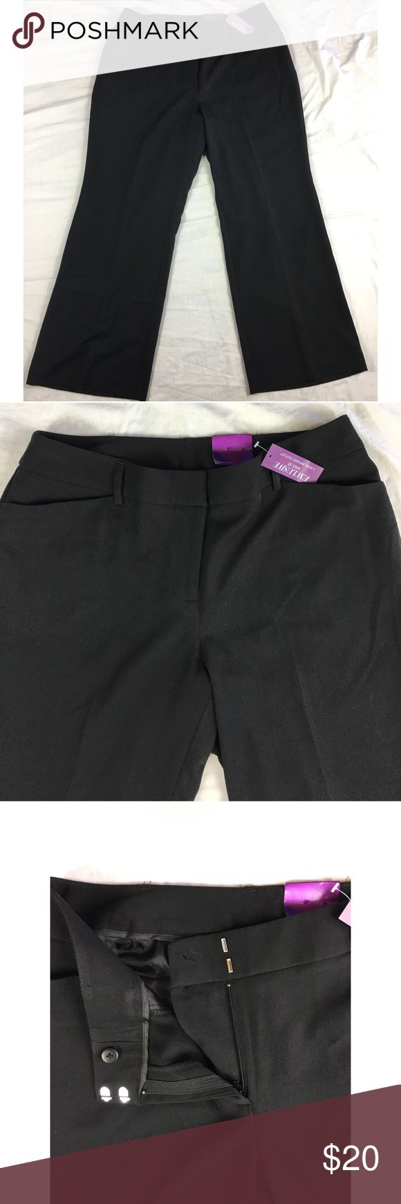 Lane Bryant pants black Houston tailored stretch Lane Bryant pants black Houston tailored stretch Original retail price $49.95 classic relaxed fit through the leg Women's Size:  14P Approx measurement: waist - 34 inches; inseam - 28 1/4 inches; rise - 10 1/2 inches Fabric content: 63% polyester, 33% rayon, 4% spandex Machine washable New with tags - see pictures Lane Bryant Pants Trousers