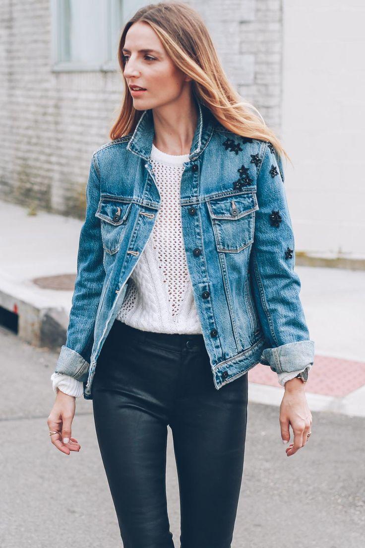 Embellished jean jacket on Jess Kirby