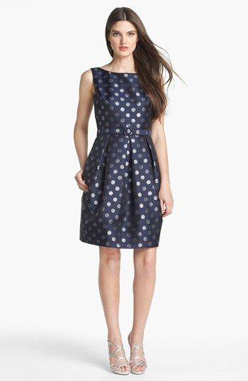 Navy dotted dress