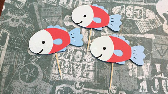 Check out this item in my Etsy shop https://www.etsy.com/ca/listing/400811671/fish-cupcake-toppers-1st-birthday-the