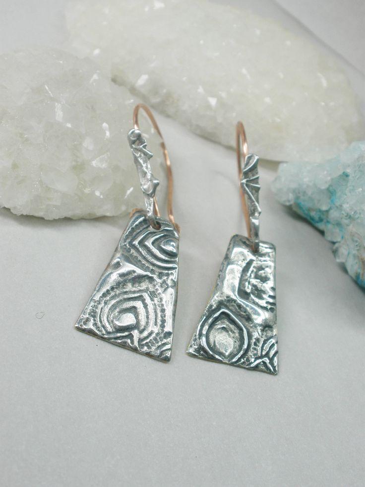 Tribal silver earrings, rustic earrings, one of a kind, tinned silver, brass, copper jewelry, dangle earrings, wearable art, artist design by ArtandSoulStudios on Etsy