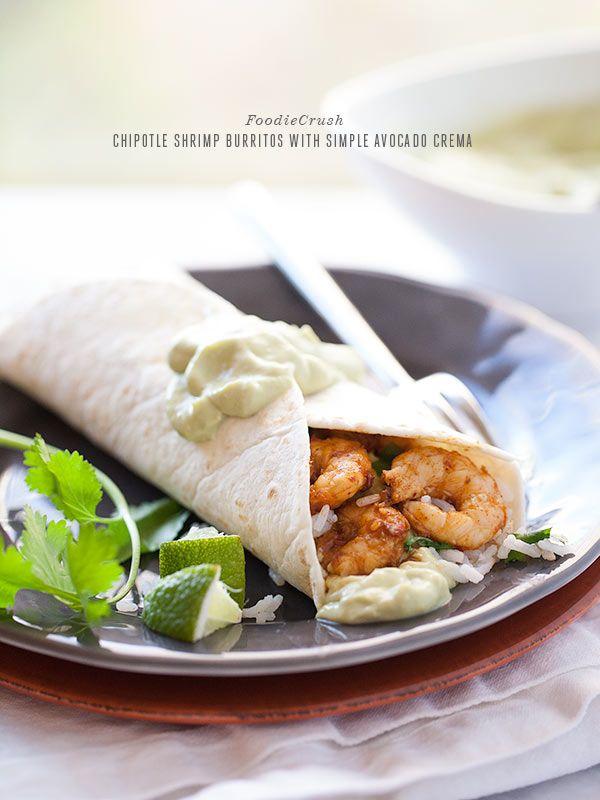 Chipotle Shrimp Burritos with Avocado Crema from foodiecrush.com