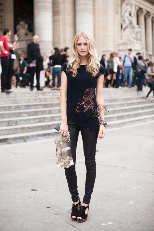 Poppy DelevigneBlack Lace, Vanessa Jackman, Lace Tops, Street Style, Black Outfit, Paris Fashion Weeks, Poppies Delevingne, Black Jeans, Style Blog