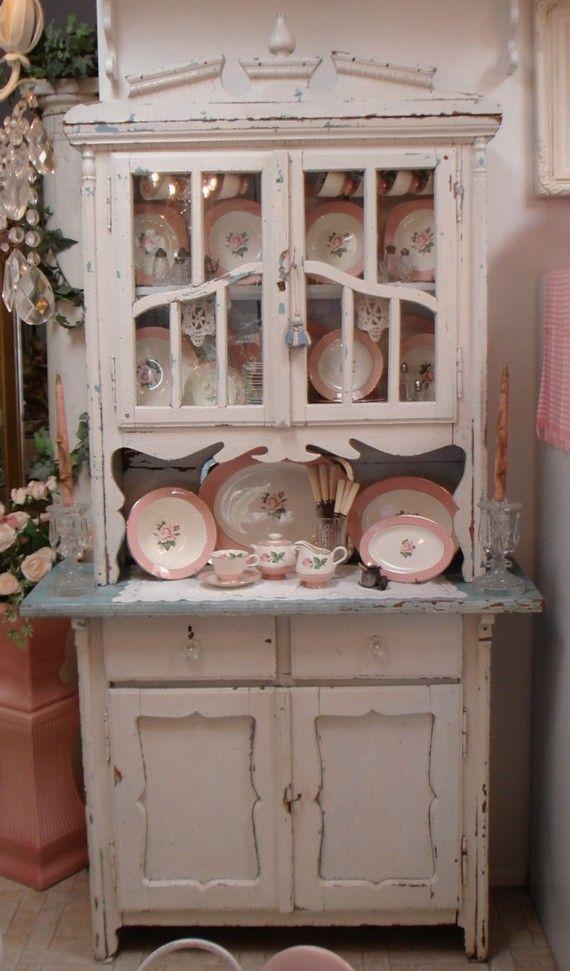 Antique 1900s Primitive Cupboard White and Aqua