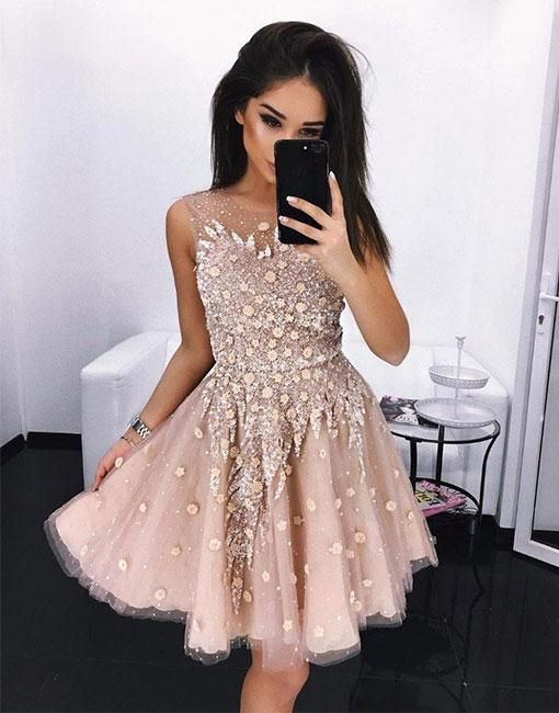 23ee71018b9 Champagne Sequin Round Neck Tulle Beading Homecoming Dresses ...