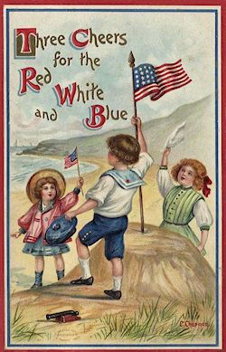 GOOD ONE!!!Three cheers for the red, white and blue! #vintage #4th_of_July #card