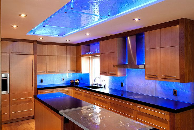 Custom Kitchen Design With Led Colour Changing Rgb Strip