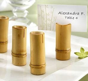 Bamboo poles cut to size make unique place card holders for your wedding.