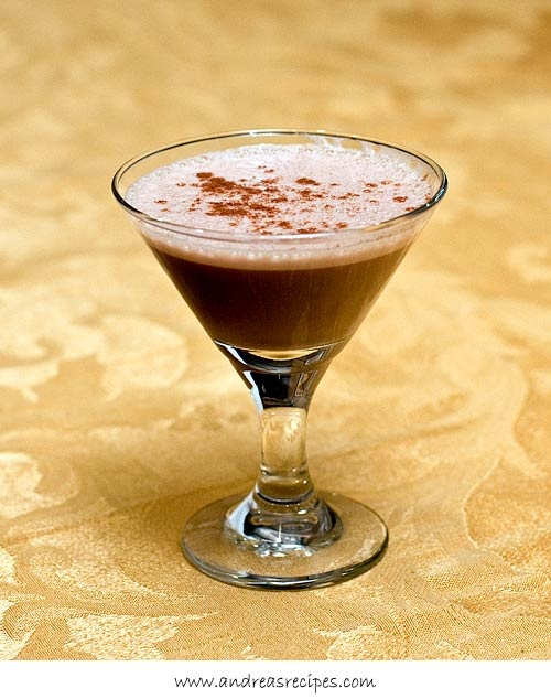 Vaina, a Chilean cocktail made with ruby port, brandy, creme de cacao, egg yolk and cinnamon