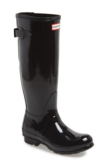 Hunter Adjustable Back Gloss Rain Boot (Women) | Nordstrom  Yay!  Hunter's now come with an adjustment for the calf width.  Love the high gloss
