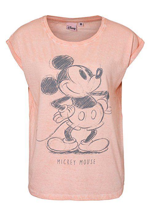 Rock Angel Damen T-Shirt mit Retro MICKEY Aufdruck | Lockeres Print-Shirt mit Überschnittenen Ärmeln | Comic Shirt rose M