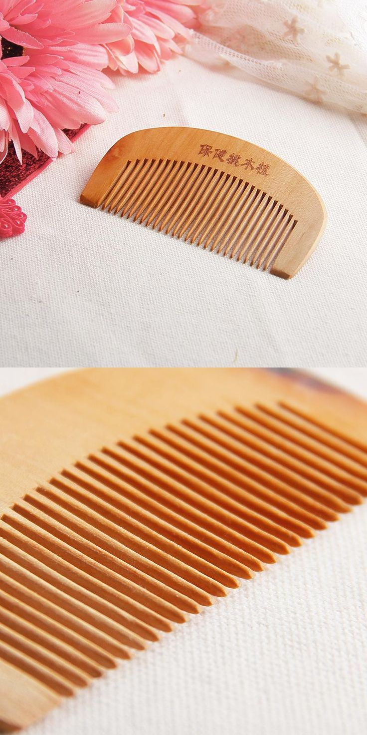 [Visit to Buy] Combs Natural Wide Tooth Peach Wood No-static Massage Hair Mahogany Comb NEW G6915 #Advertisement