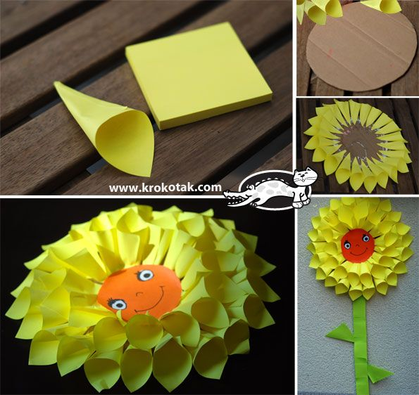Flower – sun, made by paper funnels, stick on a cardboard paper into a circle.