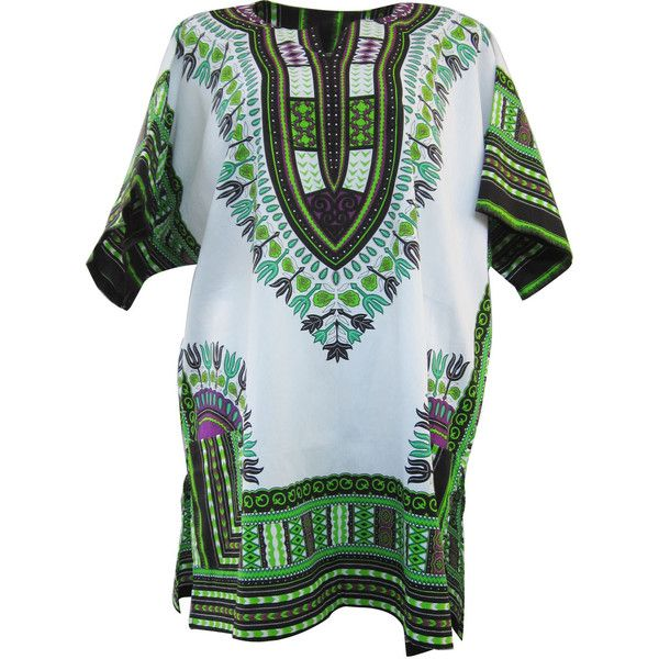 White African Dashiki, White Dashiki Shirt, Unisex Top Dress, Plus... ($22) ❤ liked on Polyvore featuring dresses, tops, shirts, tees, women plus size dresses, plus size hippie dress, colorful dresses, african print dresses and cotton dress