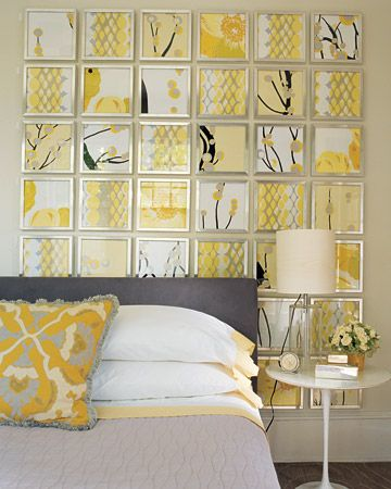 "I would like to do a smaller version of this in the guest bedroom.  Could use  black frames instead of silver.  ""Remnants of four graphic fabrics add drama when placed in metal frames and hung in a grid. When choosing fabrics, stick to bold, overscale patterns, since small florals will lose presence when viewed from afar."""