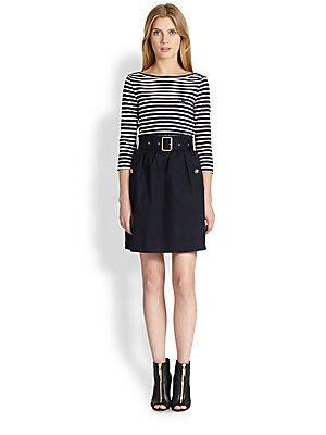 look: тельняшка+юбка Burberry Brit Jodie Striped Dress