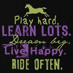 The outside of a horse is good for the inside of a girl!!:D